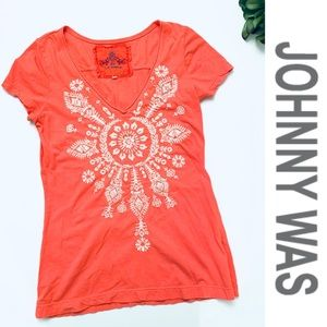 Johnny Was Coral Embroidered Tee S